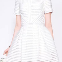 Mesh Striped Short Sleeve Mini Skater Dress