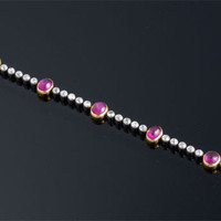 French Cabochon Burma Ruby and Diamond Bracelet ~ M.S. Rau Antiques