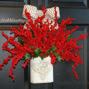 Christmas wreath Holidays front door wreaths Holly berry wreath door decorations wreaths