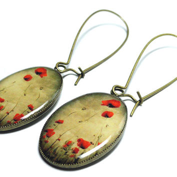 Red Poppy Flower Earrings - Dangle Earrings - Handmade - Red Flowers - Poppies - Poppy Fields - Red Earrings - Floral - Poppy Jewelry