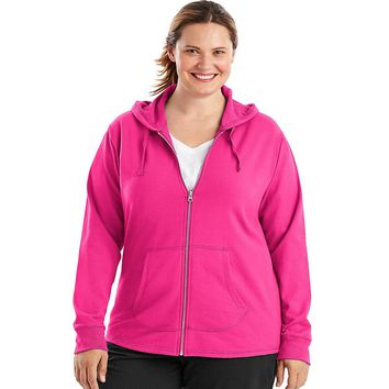 Just My Size French Terry Full-Zip Women's Hoodie Style: OJ243-Amaranth 2X
