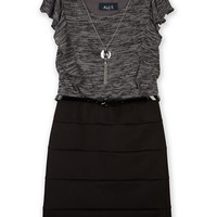 Ally B Girls 7-16 Flutter Sleeve Dress with Necklace