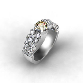 0.50ct Champagne and 1.36ct white diamond engagement ring made from Platinum, brown ring, diamond, unique, champagne, bezel, milgrain
