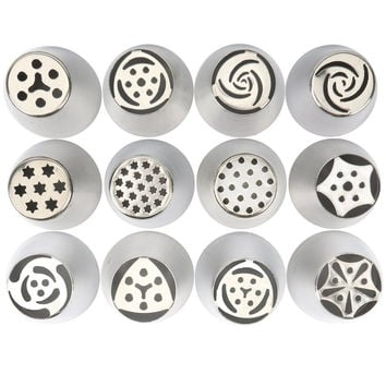12pcs/set 4cm high Stainless Steel Cake Decorating Icing Tips DIY Pastry Tubes Cookies Making Russian Nozzle