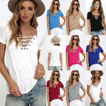 2016 Sexy V Neck Solid Erotic Casual Party Playsuit Clubwear Bodycon Boho Top Shrit T-Shirt T-Shirt _ 4407