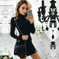 Hollow Out Black Bodycon Dress