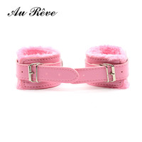 AuReve Leather Handcuff Ankle-cuffs Restraint Bondage Fetish Sex Toys  Adult Sex Products For Couple Women Men Free Shipping