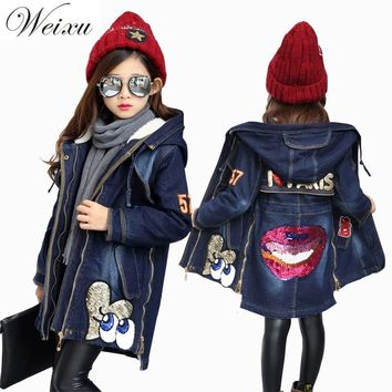 Weixu Winter Denim Jackets For Girls Fleece Lined Sequined Outewear Jeans Jacket Children Kids Thicken Warm Long Coat Clothing
