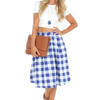Gingham Midi Skirt Blue
