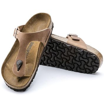 Best Online Sale Birkenstock Gizeh Oiled Leather Antique Brown 743781 Sandals