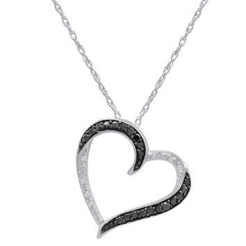 Sterling Silver  1/10ct TW Black and White Round Diamond Heart Pendant Necklace
