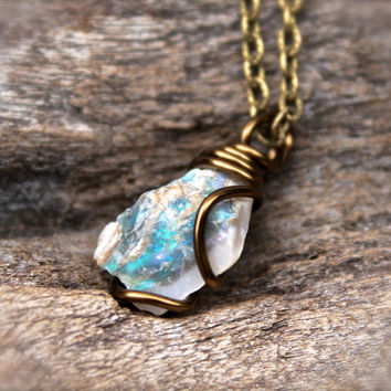 Rough Opal Necklace - Natural Raw Opal Jewelry - Raw Stone Jewelry - October Birthstone Necklace - Gypsy Bohemian Jewelry - Libra Necklace