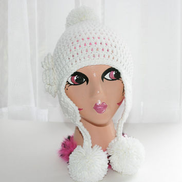Girls white hat Earflap hat toddlerbeanie  pom pom hat flower crochet winter snow ball