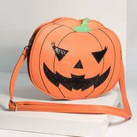 Orange Leatherette Pumpkin Jack O Lantern Crossbody Purse