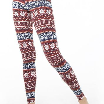 Fair Isle Snowflake Print Leggings