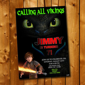 How to Train Your Dragon Birthday Invitation, Birthday Invitation for little boy and little girl