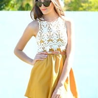 Crochet mustard fashion dres