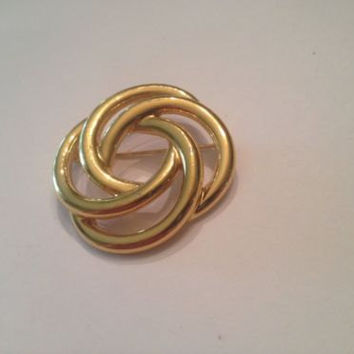 Vintage Gold Monet Brooch Pin Costume Jewelry