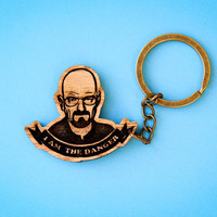 Breaking Bad Walter Keychain  Wooden Laser by SpaceSheepLaser