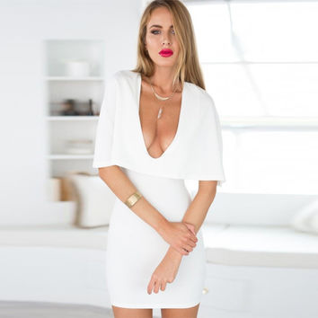 Half Bell Sleeve V Neck Mini Bodycon Dress