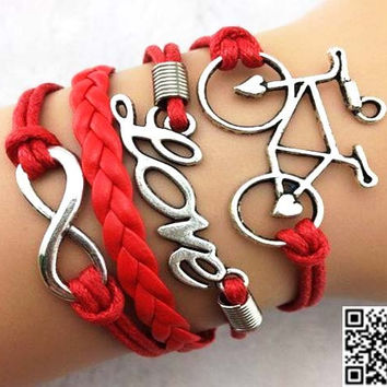 Red wax rope leather braided bracelet - infinity, love, friendship bracelets, bicycle gift for girls and boys