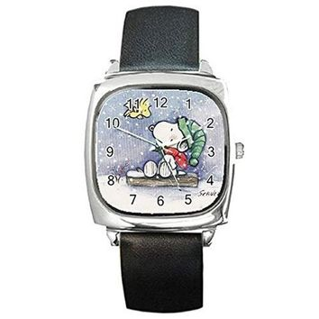 Christmas or Hannukkah, Snoopy and Woodstock on a Sleigh on a Womens Square Silver Watch with Leather Bands