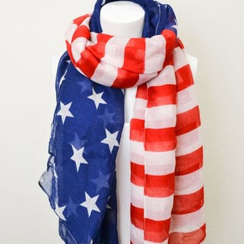 Vintage American Flag Scarf Patriotic July 4th Scarves Red White and Blue Infinity Flag Scarf Wear Infinity Scarves (on sale)
