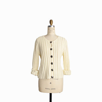 Vintage 90s Knit Cardigan Sweater in Cream - women's medium