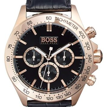 Men's BOSS 'Ikon' Chronograph Leather Strap Watch, 44mm