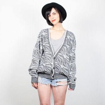 Vintage Gray White Cardigan V Neck Sweater 1980s Jumper 80s Cosby Sweater New Wave Slouchy Knit Abstract Boyfriend Cardigan L Extra Large XL