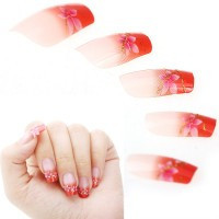 24pcs Acrylic False French Nail Art Tips - Default