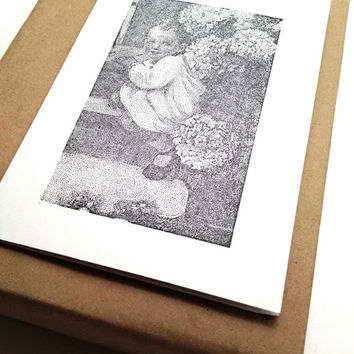 Vintage Photo Cards - Toddler on Stairs - Blank Note Cards - Handmade Stationary