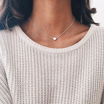 Gold Color Silver Chain Small Love Necklace Pendant Bohemian Chocker Necklace Jewelry Tiny Heart Choker Necklace for Women Boho