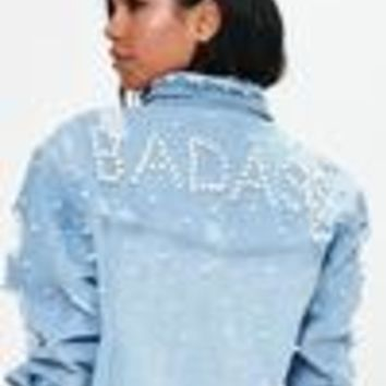 Missguided - Blue Pearl Longline Denim Trucker Jacket