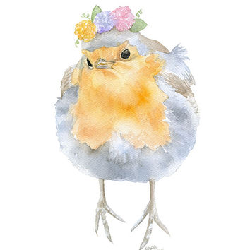 Robin with Flowers Watercolor