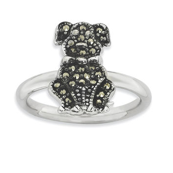 Sterling Silver Stackable Expressions Marcasite Dog Ring