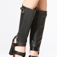 Black Faux Snake Skin Cut Out Chunky Heel Boots