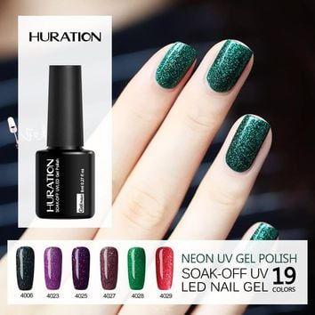 Huration Professional 8ml Colorful Neon UV Nail Gel Polish Soak Bling Nails Polish Top And Base Coat Gel Lak Vernis