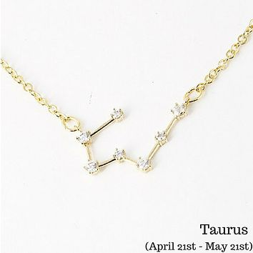 Taurus Constellation Zodiac Necklace - As seen in Real Simple, People & more