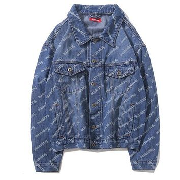 Supreme Autumn Winter Popular Women Men Casual Full Logo Long Sleeve Lapel Denim Cardigan Jacket Coat