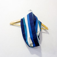 Infinity Scarf Cotton Scarf Fabric Scarf  Stripes in Blues