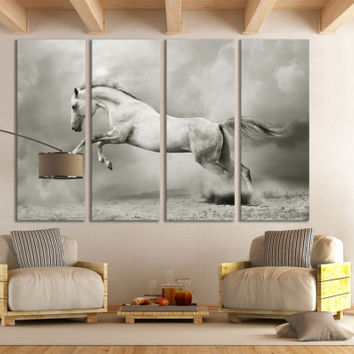 Horse Photography Canvas Print Wall Art / Western Horse Decor Giclee Fine Art Canvas Print Nature Photography Print White Stallion Wall Art