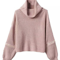 Peach Pink High Roll Neck Zipper Detail Long Sleeve Knitted Sweater