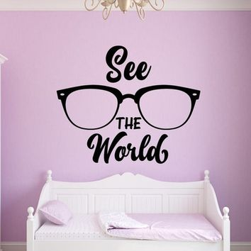 See the World Glasses Vinyl Wall Decal Explore