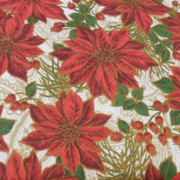 Cotton Fabric, Christmas Poinsettia and Holly Berries, Poinsettia Glamour by AE Nathan Co, Sold by the Yard