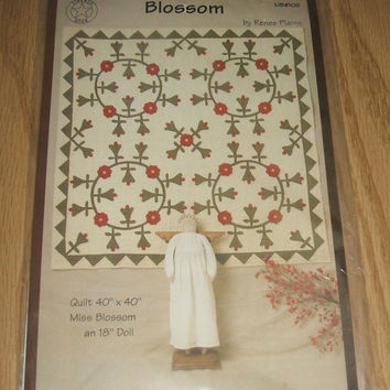 Blossom Quilt Sewing Pattern With 18 Inch Miss Blossom Doll DIY Liberty Star Craft Design by Renee Plains Bedspread Bed Cover Wall Hanging