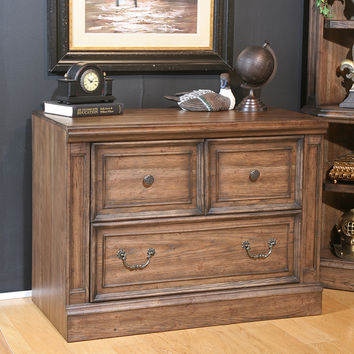 Aria Library Collection File Cabinet Antique Vintage Smoked Pecan