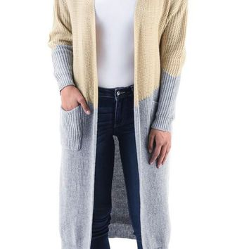 Beige Grey Long Duster Cardigan