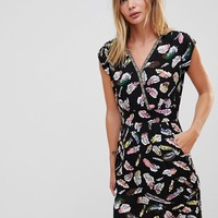 Trollied Dolly Crossover Dress In Feather Print at asos.com