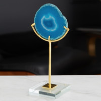 Blue Agate On Acrylic Stand - Agate in Glass Art